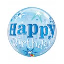 Bubble Ballon transparent Happy Birthday blau 56cm