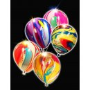 5x Latexballon LED bunt marmoriert 38cm