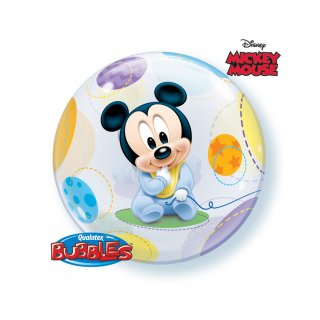 Bubble Ballon transparent Micky Mouse Baby bunt 55cm