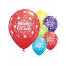 6x Latexballon bunt Happy Birthday weiß 28cm