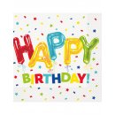 16x Serviette Konfetti Happy Birthday Ballons 33cm
